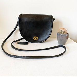 Vintage Coach Mini Black Leather Crossbody
